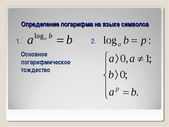Определение логарифма на языке символов Основное логарифмическое тождество