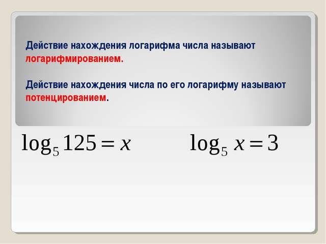 Действие нахождения логарифма числа называют логарифмированием. Действие нахо...