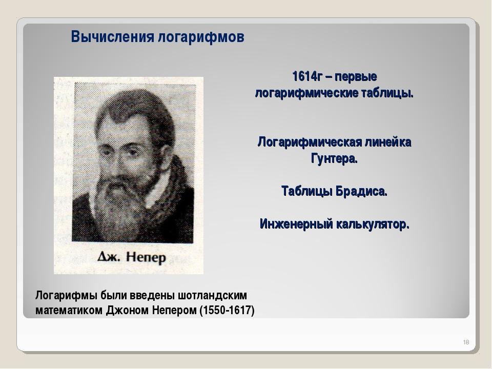 1614г – первые логарифмические таблицы. Логарифмическая линейка Гунтера. Табл...