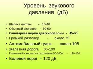 Уровень звукового давления (дБ) Шелест листвы - 10-40 Обычный разговор - 50-