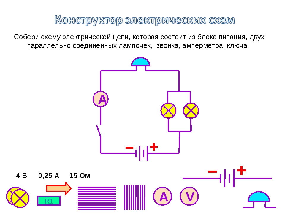 Собери схему электрической цепи, которая состоит из блока питания, двух парал...