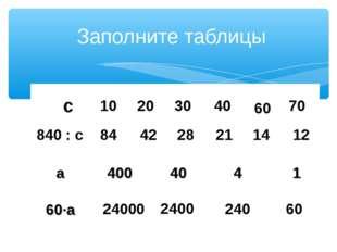 Заполните таблицы с 840 : с 10 84 20 42 30 28 40 21 60 14 70 12 24000 2400 24