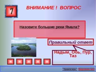 ВНИМАНИЕ ! ВОПРОС Назовите большие реки Ямала? Правильный ответ Надым, Обь, П