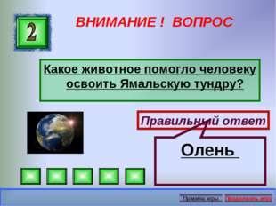 ВНИМАНИЕ ! ВОПРОС Какое животное помогло человеку освоить Ямальскую тундру? П