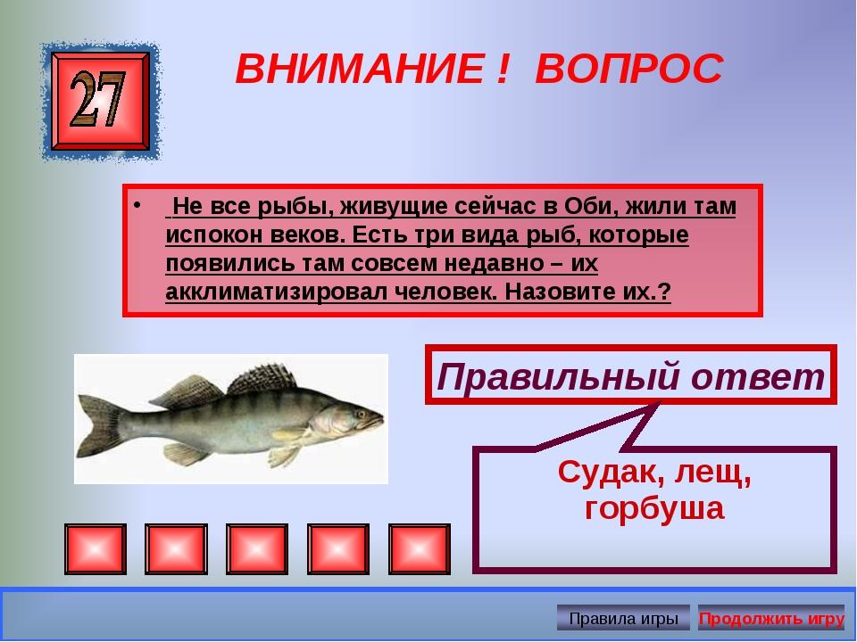 ВНИМАНИЕ ! ВОПРОС Не все рыбы, живущие сейчас в Оби, жили там испокон веков....