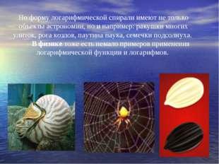 Но форму логарифмической спирали имеют не только объекты астрономии, но и нап