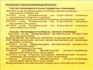Участие обучающихся в очных предметных олимпиадах 2010-2011 уч.год- Муниципал