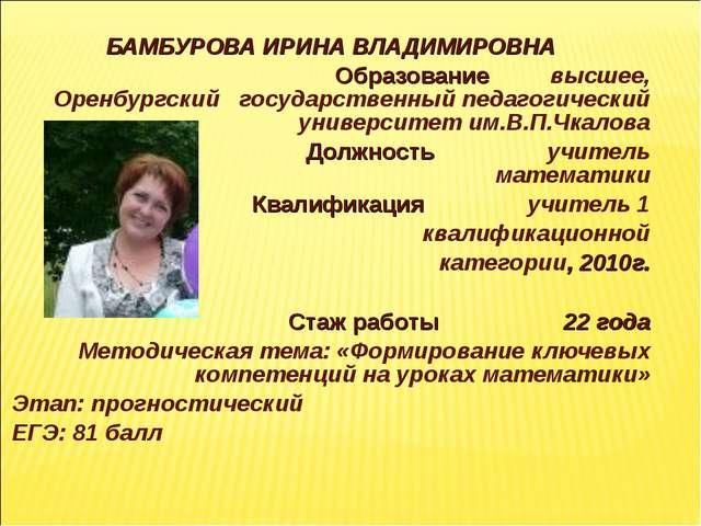 БАМБУРОВА ИРИНА ВЛАДИМИРОВНА Образование высшее, Оренбургский государственн...