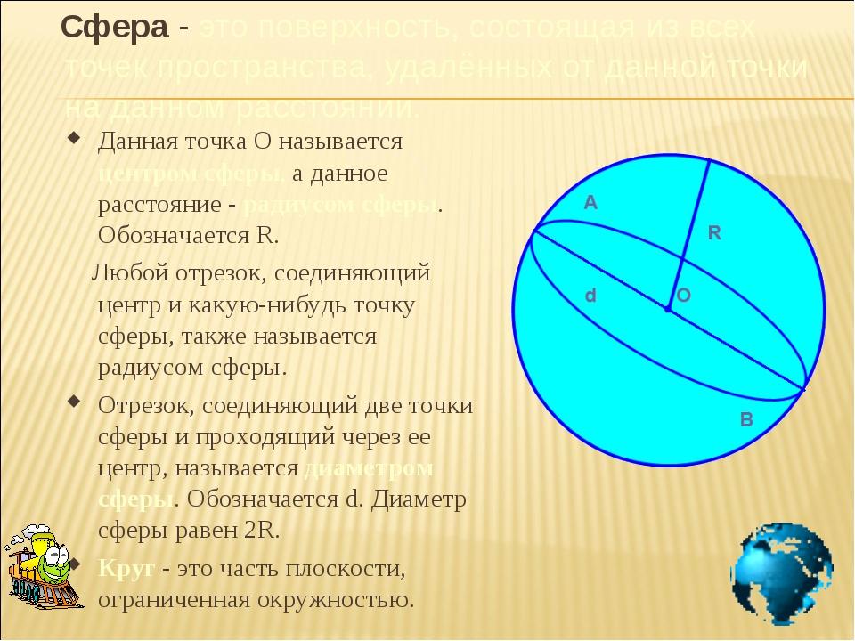 Сфера - это поверхность, состоящая из всех точек пространства, удалённых от...