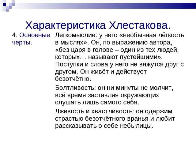 Характеристика Хлестакова. 4. Основные черты.Легкомыслие: у него «необычная...