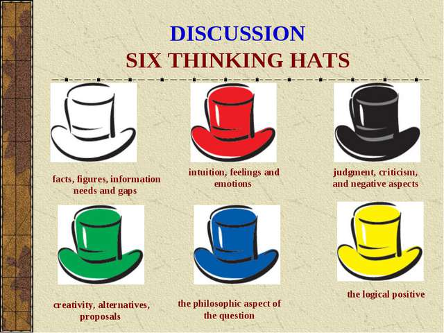 DISCUSSION SIX THINKING HATS the philosophic aspect of the question the logic...