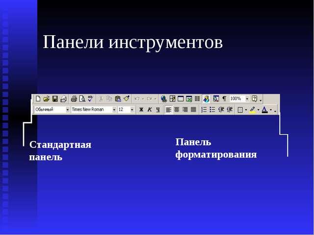 Панели инструментов Стандартная панель Панель форматирования