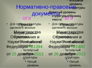 Нормативно-правовые документы ОГЭ Приказ Министерства Образования и Науки Рос