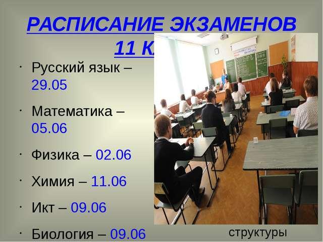 РАСПИСАНИЕ ЭКЗАМЕНОВ 11 КЛАСС Русский язык – 29.05 Математика – 05.06 Физика...