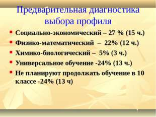 Предварительная диагностика выбора профиля Социально-экономический – 27 % (15