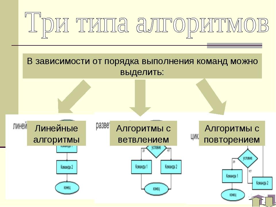 В зависимости от порядка выполнения команд можно выделить: Линейные алгоритмы...