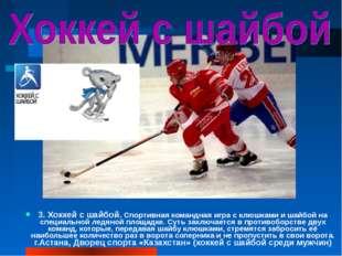 3. Хоккей с шайбой. Спортивная командная игра с клюшками и шайбой на специаль