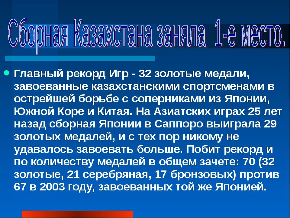 Главный рекорд Игр - 32 золотые медали, завоеванные казахстанскими спортсмена...