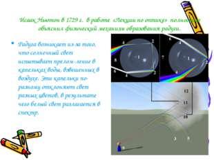 Исаак Ньютон в 1729 г. в работе «Лекции по оптике» полностью объяснил физичес