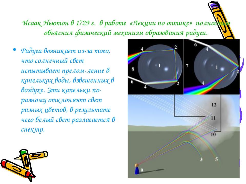 Исаак Ньютон в 1729 г. в работе «Лекции по оптике» полностью объяснил физичес...