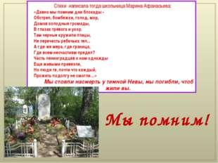 Стихи написала тогда школьница Марина Афанасьева: «Давно мы помним дни блок