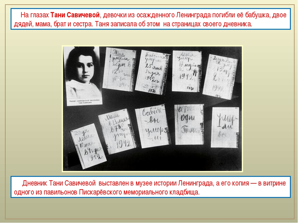 Дневник Тани Савичевой выставлен в музее истории Ленинграда, а его копия —...