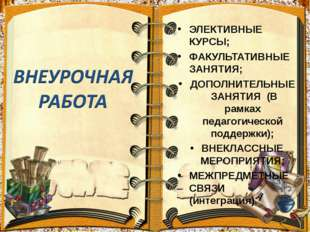 ЭЛЕКТИВНЫЕ КУРСЫ; ФАКУЛЬТАТИВНЫЕ ЗАНЯТИЯ; ДОПОЛНИТЕЛЬНЫЕ ЗАНЯТИЯ (В рамках пе