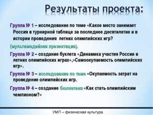 Группа № 1 – исследование по теме «Какое место занимает Россия в турнирной та