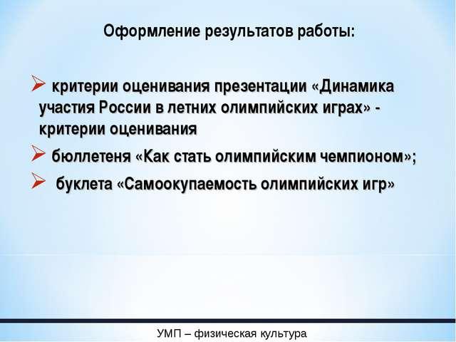 Оформление результатов работы: критерии оценивания презентации «Динамика учас...
