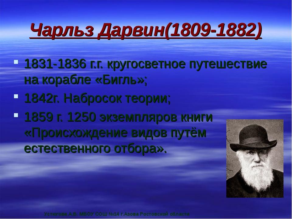 Чарльз Дарвин(1809-1882) 1831-1836 г.г. кругосветное путешествие на корабле «...