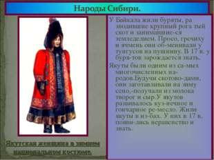 У Байкала жили буряты, ра зводившие крупный рога тый скот и занимавшие-ся зем