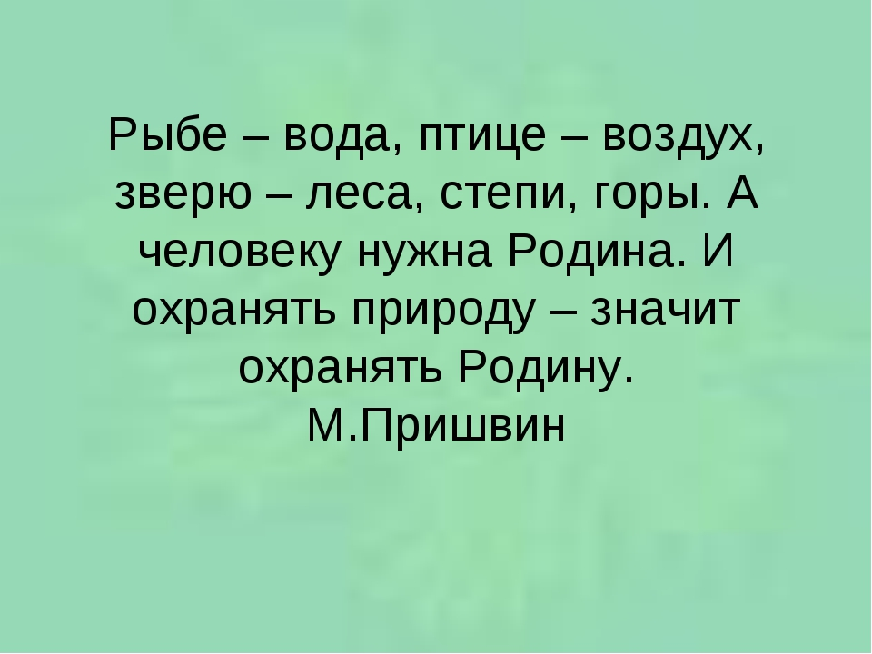 Рыбе – вода, птице – воздух, зверю – леса, степи, горы. А человеку нужна Роди...