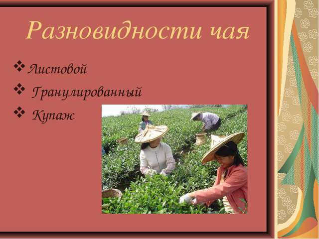 Разновидности чая Листовой Гранулированный Купаж