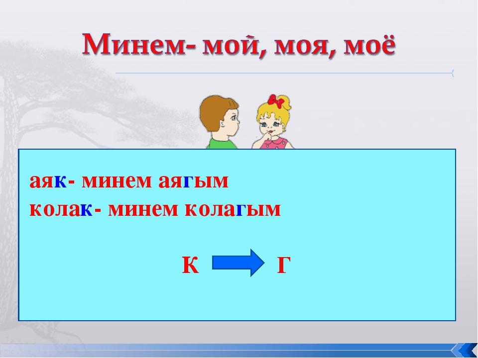 аяк- минем аягым колак- минем колагым К Г