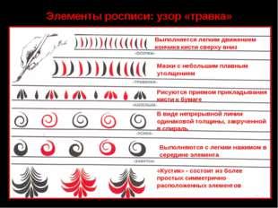 Элементы росписи: узор «травка» Выполняется легким движением кончика кисти св