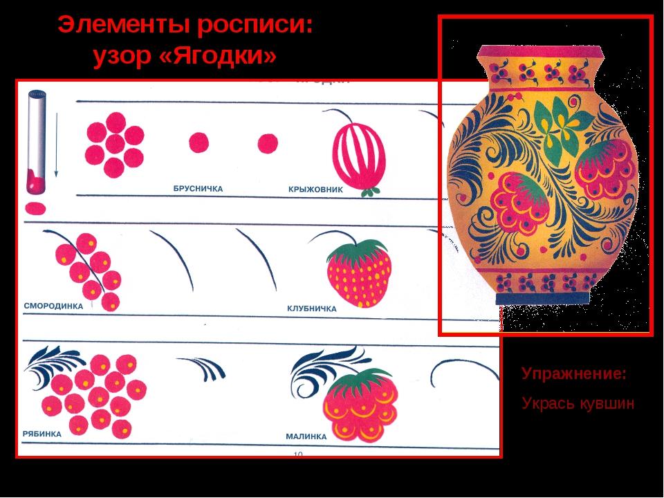 Элементы росписи: узор «Ягодки» Упражнение: Укрась кувшин