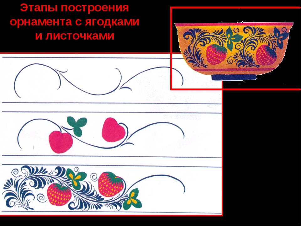 Этапы построения орнамента с ягодками и листочками