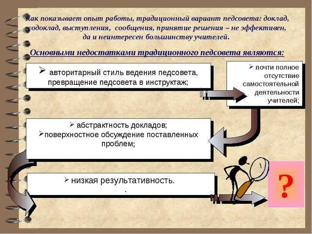 низкая результативность. . абстрактность докладов; поверхностное обсуждение...