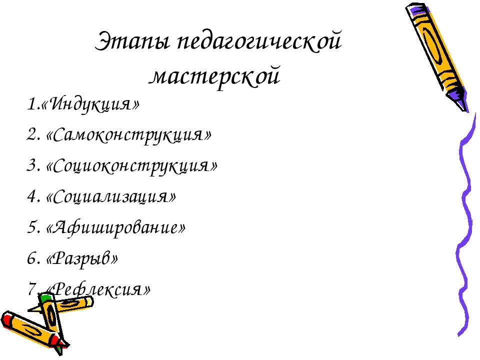 Этапы педагогической мастерской 1.«Индукция» 2. «Самоконструкция» 3. «Социоко...