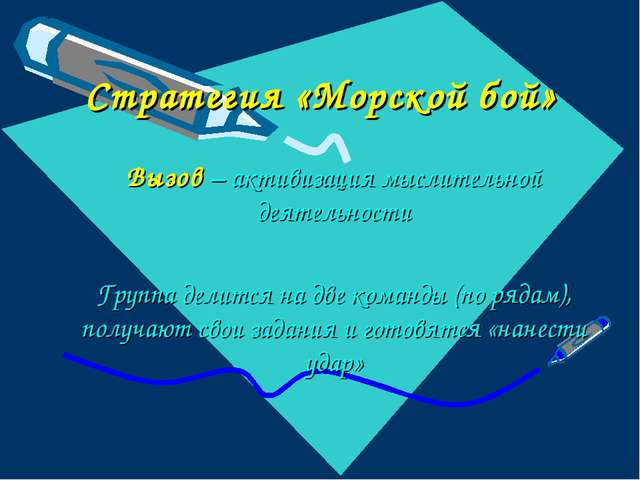 Стратегия «Морской бой» Вызов – активизация мыслительной деятельности Группа...