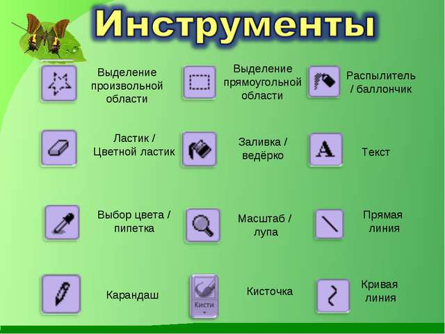Выделение произвольной области Ластик / Цветной ластик Выбор цвета / пипетка...