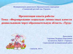 Муниципальное дошкольное образовательное учреждение «Съяновский детский сад «