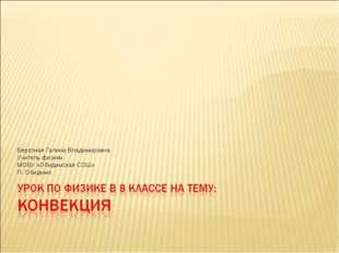 Березная Галина Владимировна Учитель физики МОБУ «Обидимская СОШ» П. Обидимо