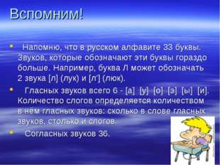 Вспомним!  Напомню, что в русском алфавите 33 буквы. Звуков, которые обознач