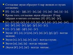 Согласные звуки образуют 6 пар звонких и глухих согласных: [б] - [п], [в] -