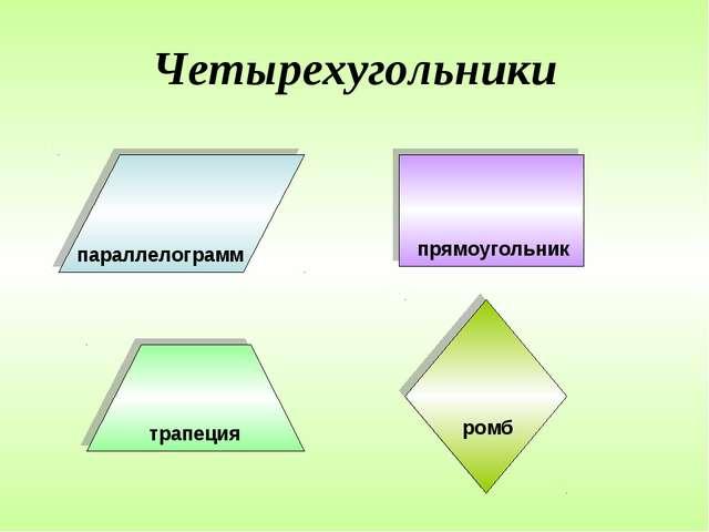 Четырехугольники параллелограмм прямоугольник трапеция ромб