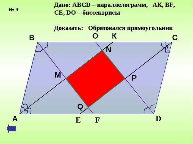 Дано: АВСD – параллелограмм, АК, ВF, CE, DО – биссектрисы Доказать: Образовал...