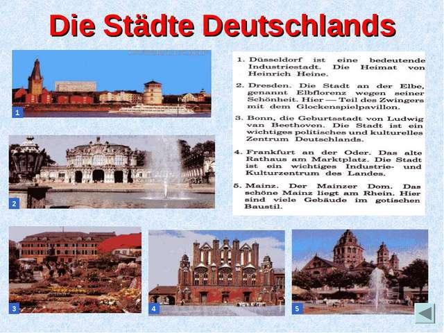 Die Städte Deutschlands 1 2 3 4 5