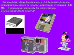 Дисковод для гибких дисков читает -3,5 дюймовые дискеты. Эти диски называетс