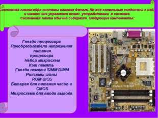 Системная плата-ядро системы главная деталь ПК-все остальные соединены с ней,